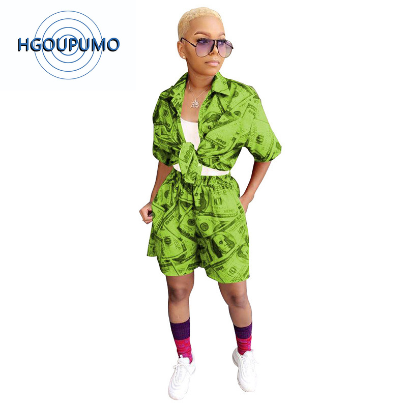 Imprimé néon vert Sexy deux pièces vêtements d'été pour les femmes col rabattu manches courtes cravate haut + casual Shorts Club tenues