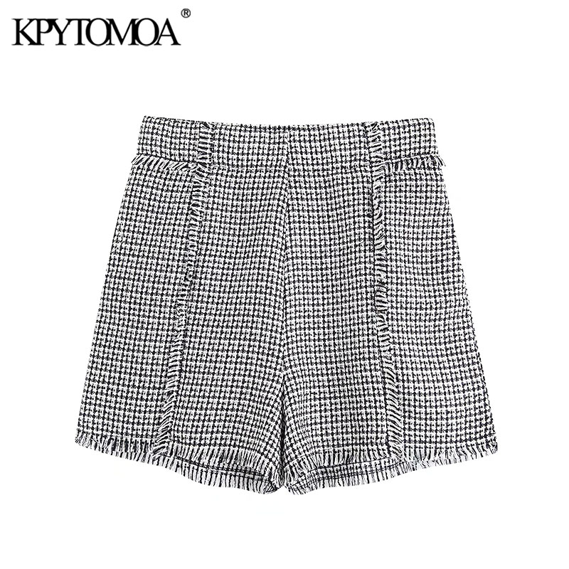 Vintage Stylish Pockets Frayed Trim Tweed Shorts Women 2020 Fashion High Waist Side Zipper Female Short Pants Pantalones Cortos