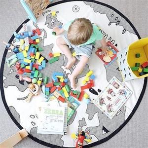 Image 2 - Игровой коврик с рисунком животных, коврики для детей хлопок, для ползания, хлопок, Круглый Пол, для детской комнаты