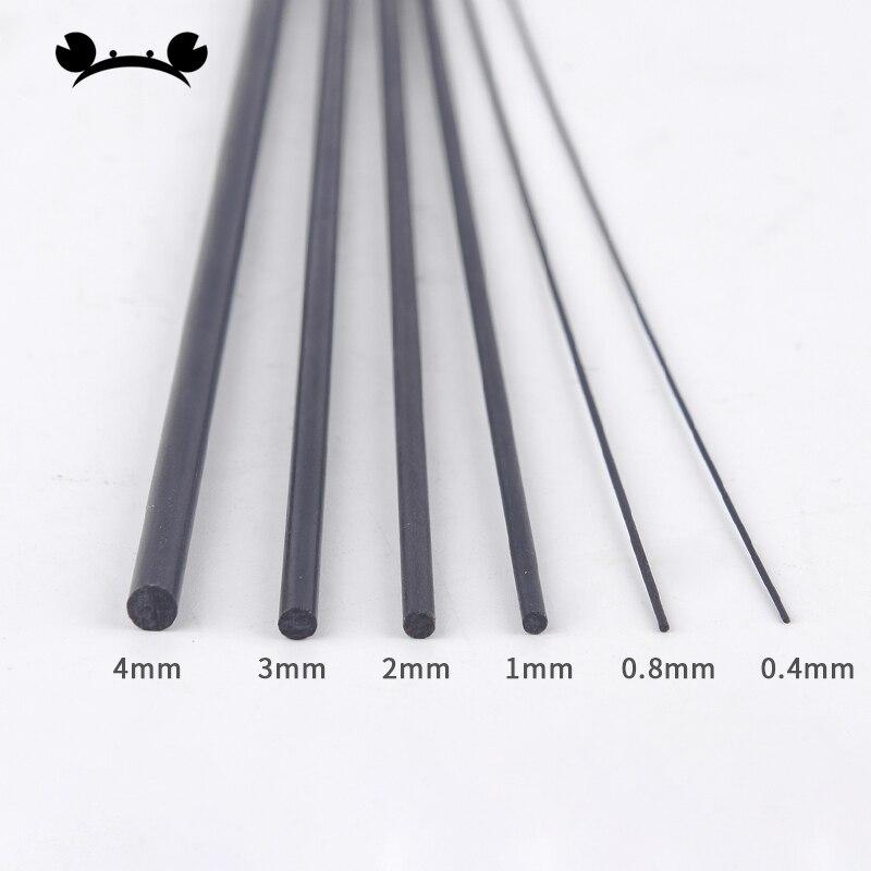 20pcs Carbon Fiber Rods 0.5mm 0.8mm 1mm 1.5mm 2mm 2.5mm 3mm 4mm Length 200mm 400mm Fibra De Carbono