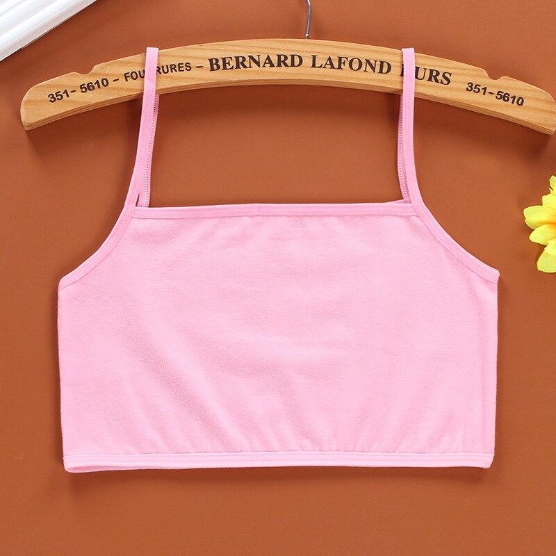 3Pc/Lot Kids Underwear 100% Cotton Girls Tank Top Candy Color Undershirt Girls Singlet Baby Camisole Bra Tops Sport 2