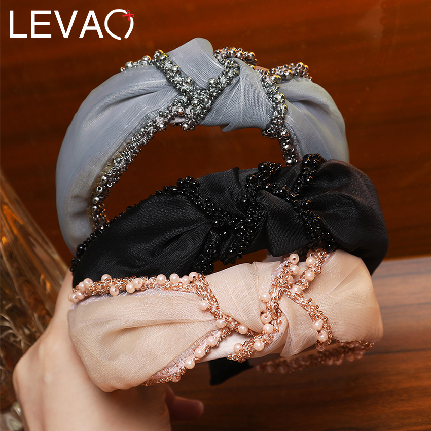 Levao Women Hairband Wide Beaded Bands Knotted Headband Hair Accessories For Girls Solid Color Cotton Plastic Hair Hoop Bands