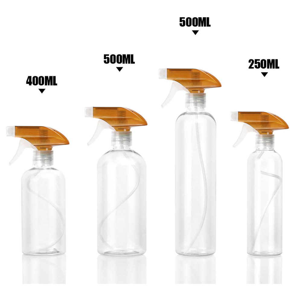 Pack of 4 Spray Bottles, Leak Proof, Transparent Empty Bottle for Chemical and Cleaning Solutions, Adjustable Head Spray