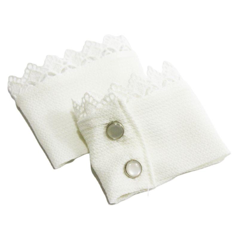 1Pair Detatchable Pleated Ruffles Fake Sleeve Chiffon Lace Floral False Cuffs H37C