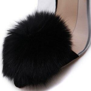 Image 4 - Женские босоножки с острым носком COWCOM, на высоком каблуке шпильке, с натуральным кроличьим плюшем, с закрытым носком, обувь на весну, 2019
