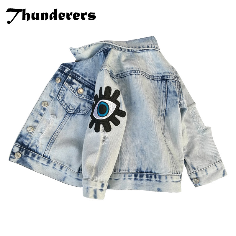 Thunderers Spring Autumn Kids Jacket For Girls Boys Long Sleeve Embroidery Cartoon Eye Denim Coats Casual Children's Clothes