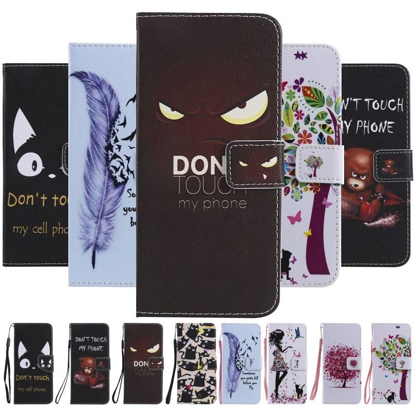 Flip Case For Apple iphone XR XS X 11 Pro Max 7 8 6s Plus 5s 5C ipod touch 6 5 Tree Girl Cat Eyes Style Wallet Stand Fundas E06F