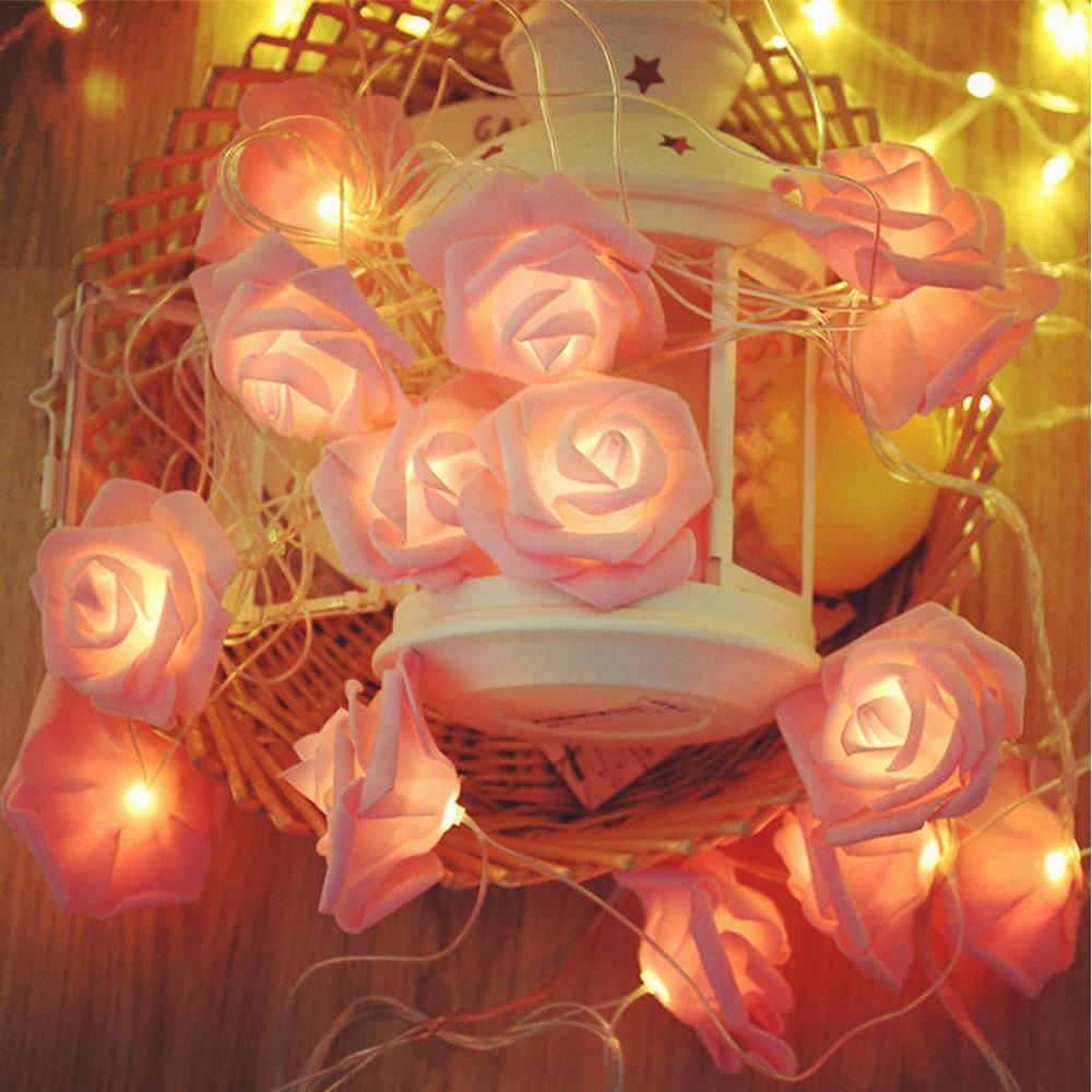 1.5M/3M/6M Fairy Rose Flower Light String Battery/USB Powered Christmas Holiday Decoration Lamp For Valentine Wedding LED String