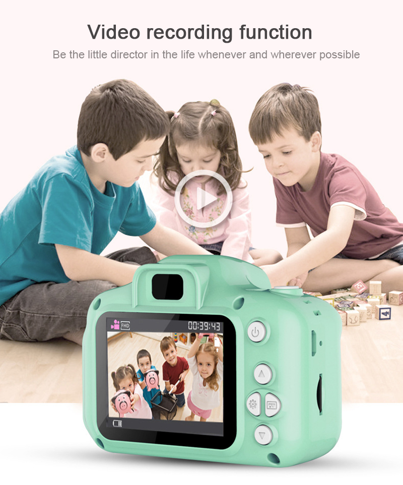 1080P Full HD Children's portable 3D Cartoon Camera Mini Dual Lens Digital Camera Mini Video Sports Child Student Fun Toy Camera image