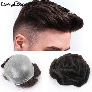 EVAGLOSS Male Human Hair Wig 0.02-0.04mm Full PU Mens Toupee Hair Unit Full Pu Replacement System Man Wig