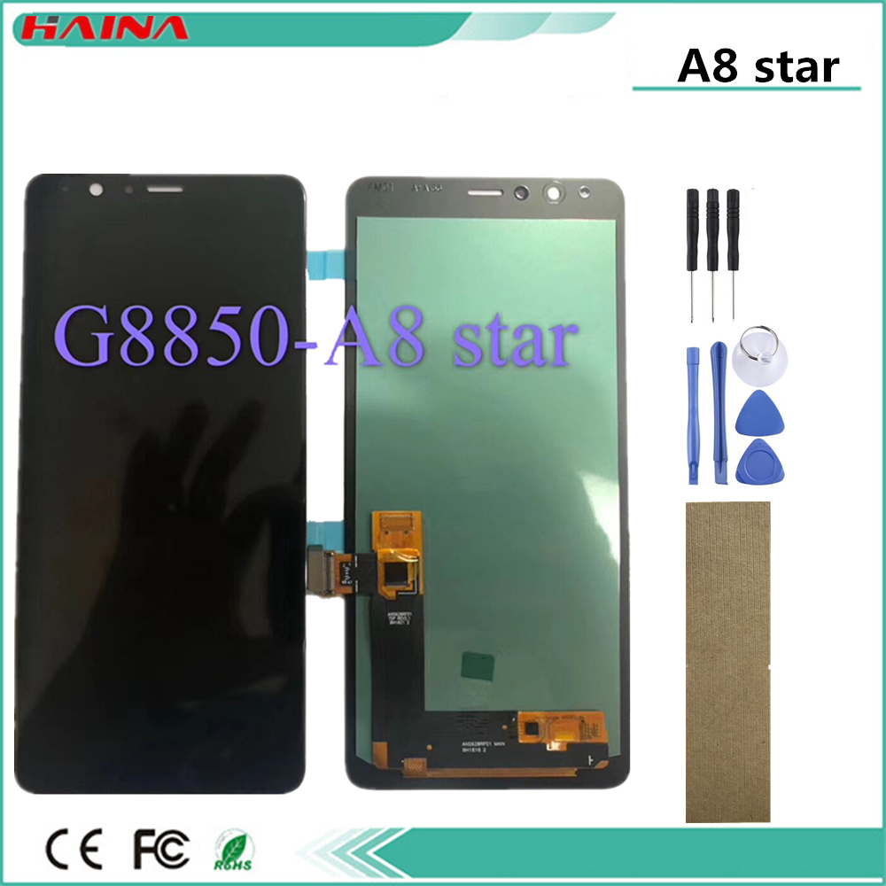 AMOLED lcd For <font><b>Samsung</b></font> Galaxy <font><b>A8</b></font> Star LCD For <font><b>SAMSUNG</b></font> G8850 lcd <font><b>display</b></font> LCD with Tools <font><b>Screen</b></font> Touch Digitizer Assembly image