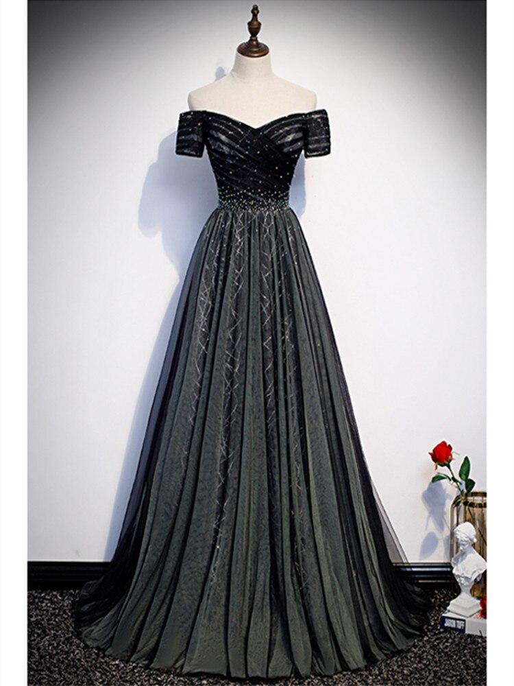 Robe De Soiree A-line Black Evening Dresses Long Dress Formal Dress Vestido De Festa Sexy Sweetheart Crystal Evening Dress 2020