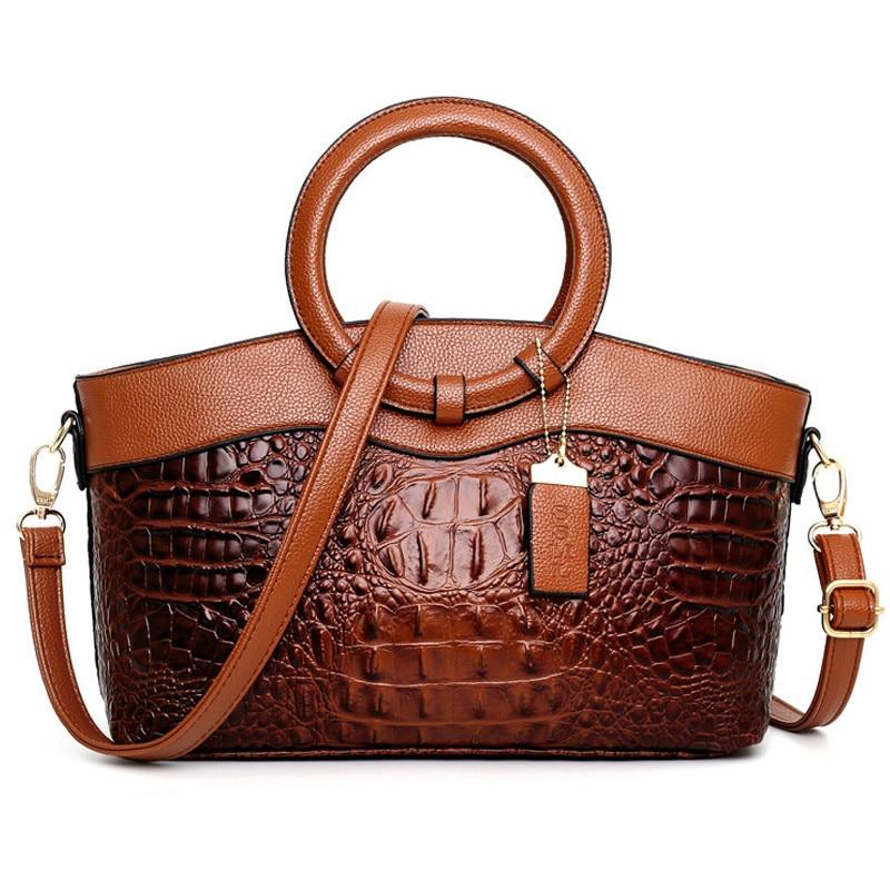 High Quality Leather Ladies Tote Bag Classic Alligator Luxury Handbags Women Bags Designer Elegant Crossbody Bags For Women 2020