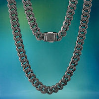 12mm Bling Iced Out Miami Cuban Link Chain Black 18/20 Inch Necklace With Cz Micro Set High Quality Rapper Chain Hip Hop Jewelry