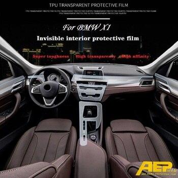 Invisible Center Console Gear Shift Knob Interior Trim TPU Protective Film Sticker for BMW X1 Car Styling Accessories