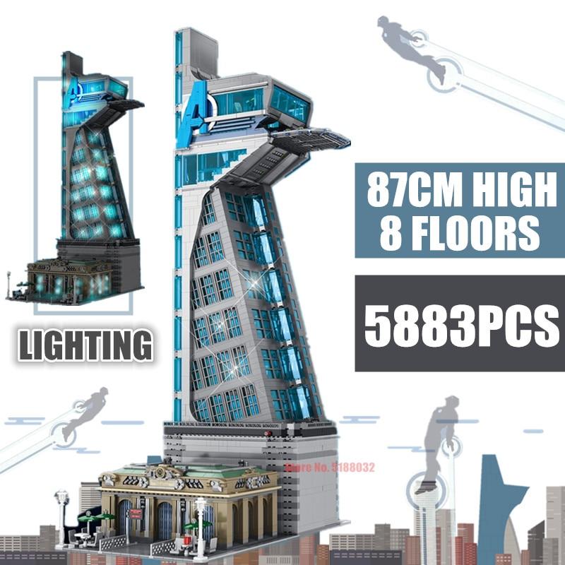Новый 5883 шт. 87 см с героями «Marvel», 8 этажей башня Мстителей Железный человек Старк башня модель строительные блоки, кирпич детская игрушка в п...