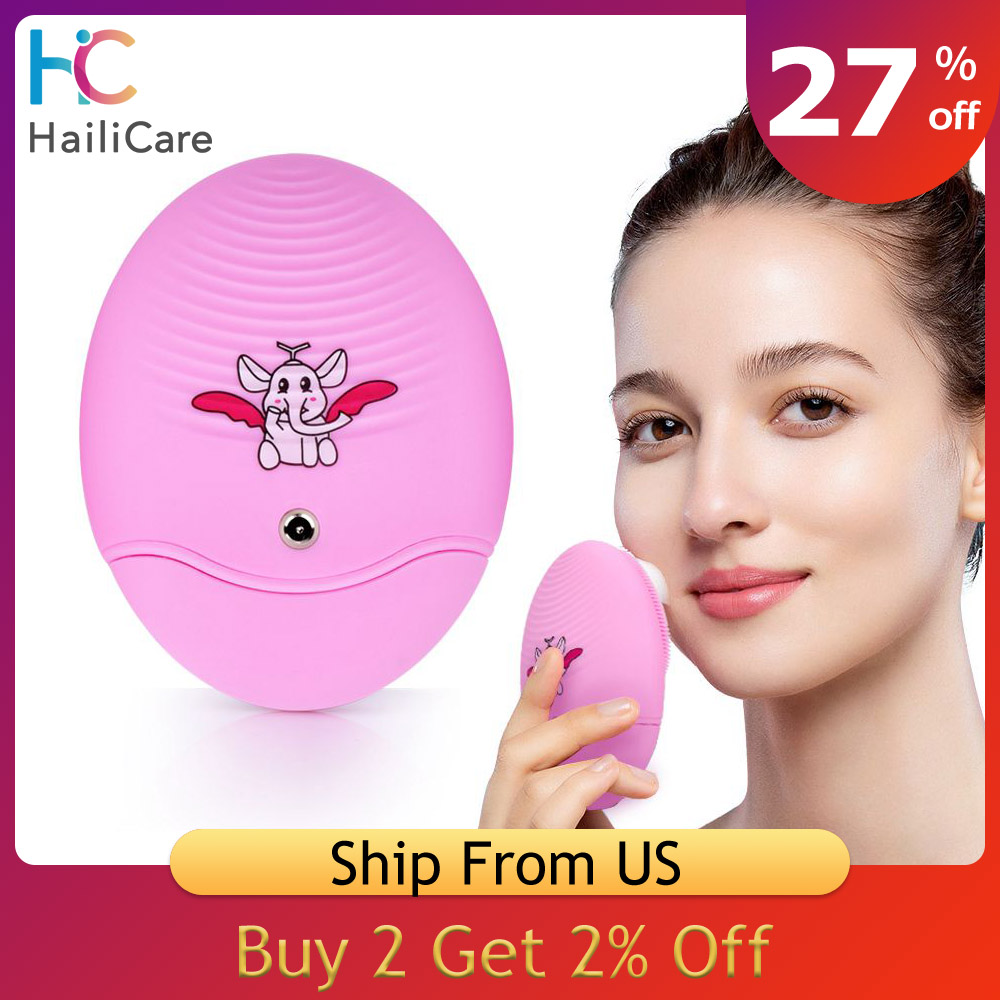 Electric Face Brush Silicone Sonic Face Brush Rechargeable Ultrasonic Pore Cleanser Skin Massager Facial Cleansing Device