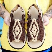 2021 New Woven Shoes Men's Sandals Summer Sandals Men's Fashion Casual Thick-soled Beach Shoes Men Sandals Men shoes slippers