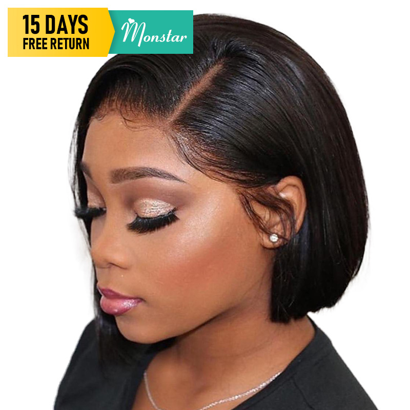 Monstar 13x6 Lace Frontal Brazilian Straight Remy Natural Color/1B 613/613 Blonde Short Bob Lace Front Human Hair Wig for Women-in Human Hair Lace Wigs from Hair Extensions & Wigs