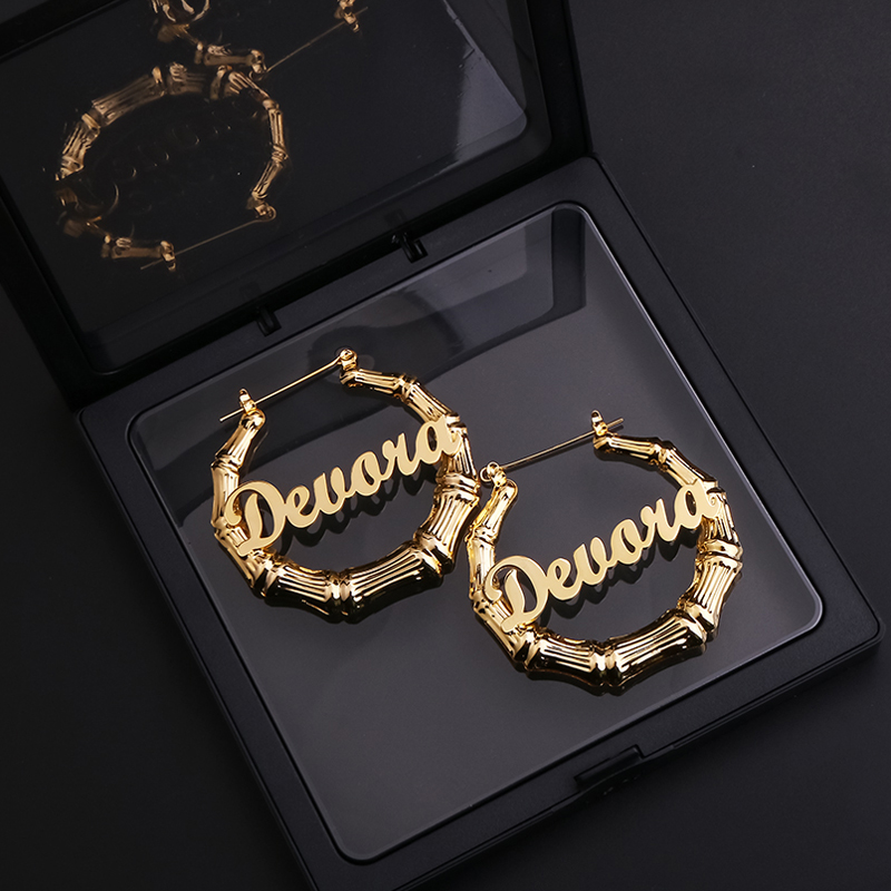 New Sexy Bamboo Hoop Earrings Customizable 50 70 90mm Customize Name Gold Bamboo Earrings Style Customize Earring For Women Gift
