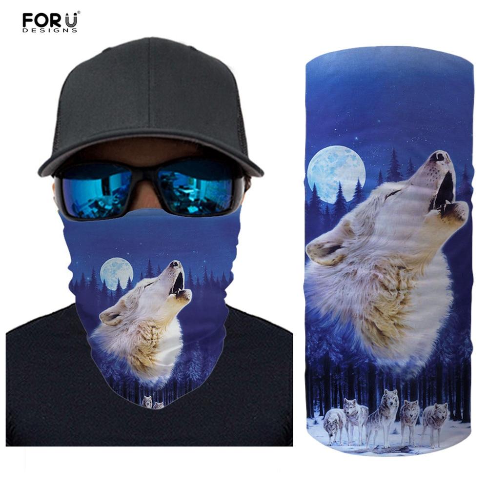 FORUDESIGNS Magic Headwear Howling Wolf Outdoor Scarf Headbands Bandana Neck Gaiter Head Wrap Unisex Face Cover Seamless Turban