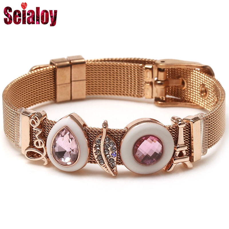 Rose Gold Stainless Steel Mesh Pink Crystal Drops Charm Watch Belt Bracelets For Women Men Original Love Tower Beads Bangle Gift(China)
