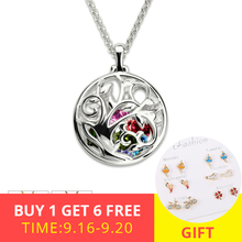 XiaoJing New Arrivals 925 Sterling Silver Round Cage Birthstone Family Tree Necklace For Women Gift Free Shipping wholesale