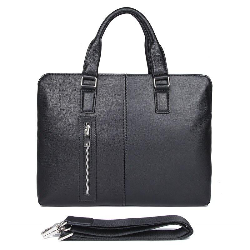 Men Leather Handbag High Quality Real Leather Briefcase Shoulder Portfolio Laptop Bag 7411-