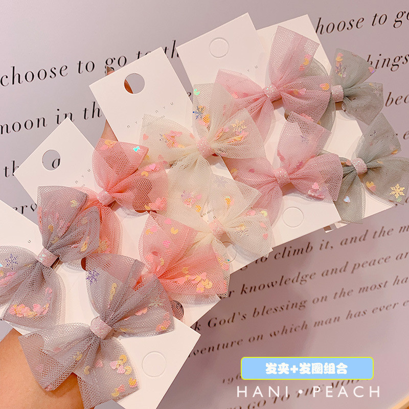 2020 Korean Love Sequin Bow Hair Clip Girl Duckbill Hair Accessories