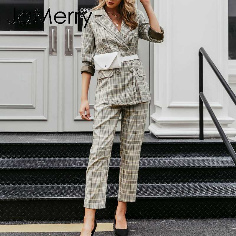 JaMerry Vintage plaid double breasted women blazer suit set Long sleeve office lady pant suits Casual streetwear trouser suit