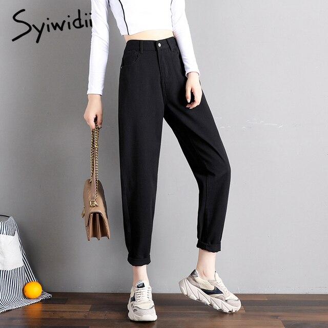 elastic waist black jeans korean fashion   1