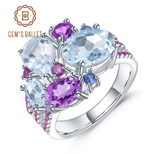 GEMS BALLET Real 925 Sterling Silver Candy Gemstone Ring Natural Sky Blue Topaz Amethyst Rings for Women Fine Jewelry