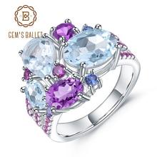 Gemreal s ballet real 925 prata esterlina doces anel de pedra preciosa natural céu azul topázio ametista anéis para mulheres jóias finas