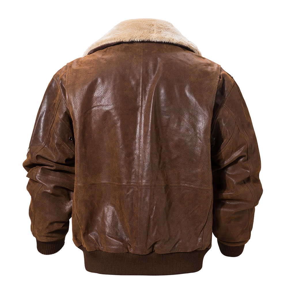 Hab7e5137abc147649407a14561189679v FLAVOR New Men's Real Leather Bomber Jacket with Removable Fur Collar Genuine Leather Pigskin Jackets Winter Warm Coat Men