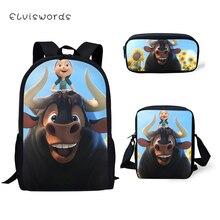 ELVISWORDS 3PCs Set Childrens Backpack Cartoon Ferdinand Pattern School Book Bags Fashion Students Backpack/Flaps Bags/Pen