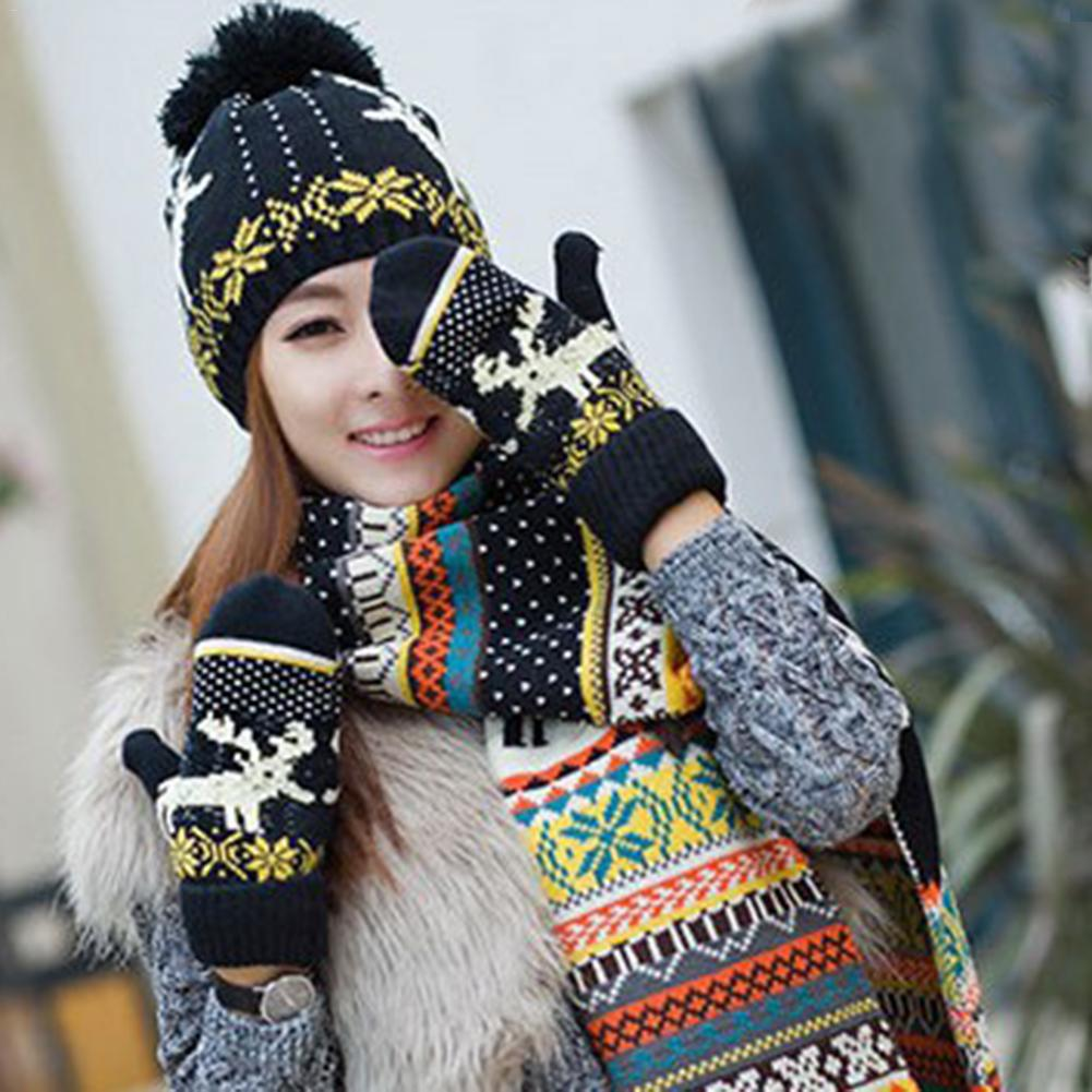 Winter Caps Knit Thick Wool Lining Warm Christmas Gift Reindeer Thick Hat Scarf Glove Sets For Women Or Girl 3pcs Warm Set