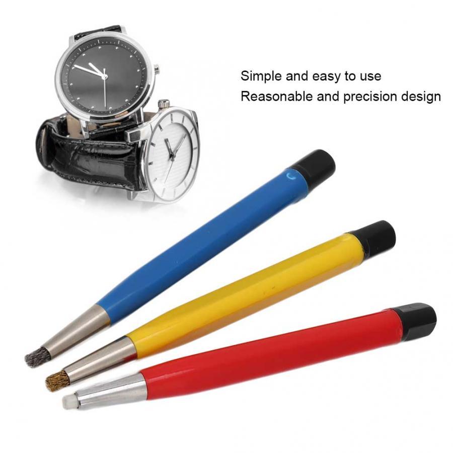 Image 3 - 3pcs/set Rust Removal Brush Pen Fiberglass Brass Steel Scratch Brush Clean Pen Watch Parts Polishing Tool Watch Parts AccessoryRepair Tools & Kits   -