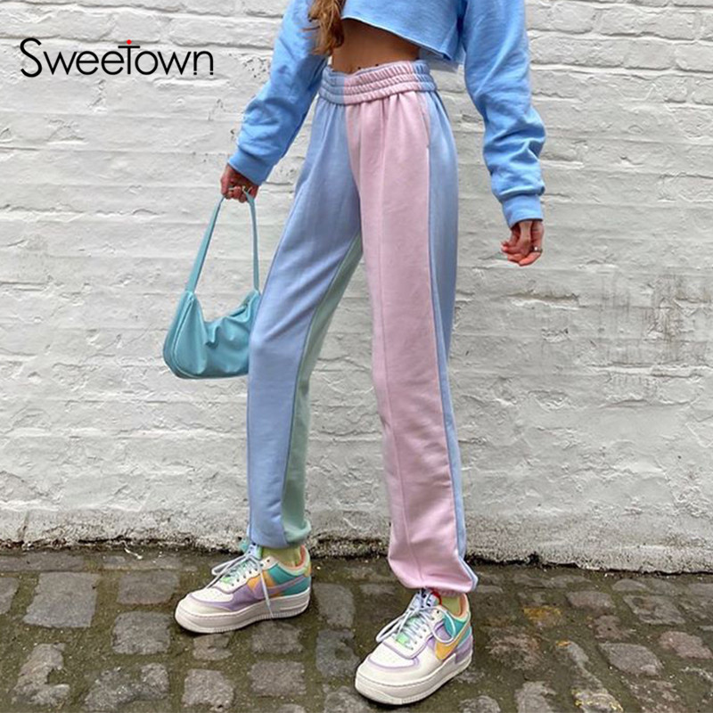 Sweetown Contrast Color Baggy Women Jogger Sweatpants Casual Pink Blue Patchwork High Waist Trousers Female Hip Hop Streetwear
