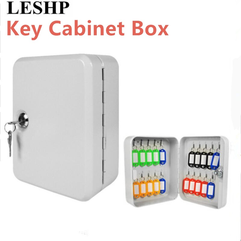 LESHP Key Cabinet Box 20 Tags Fobs Wall Mounted Lockable Security Metal Cupboard Safe For Home Property Management Company Drop