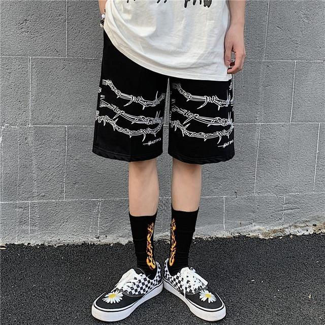 Harajuku men shorts streetwear iron chain pattern jogger shorts women men Summer loose elastic waist Hip hop skateboard shorts 1