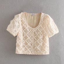 France Retro Ladies Lace Blouse O-neck Short Grace Tops Women Office Lady