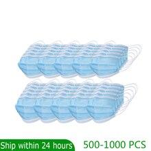 500 1000 Pcs Kwaliteit Oorhaakje Gezicht Mond Maskers 3 Layer Beschermende Anti Bacteriële 3 Ply Masker