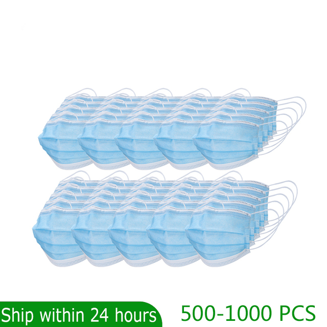 500 1000 Pcs Quality Earloop Face Mouth Masks 3 layer Protective  Anti bacterial 3 ply mask