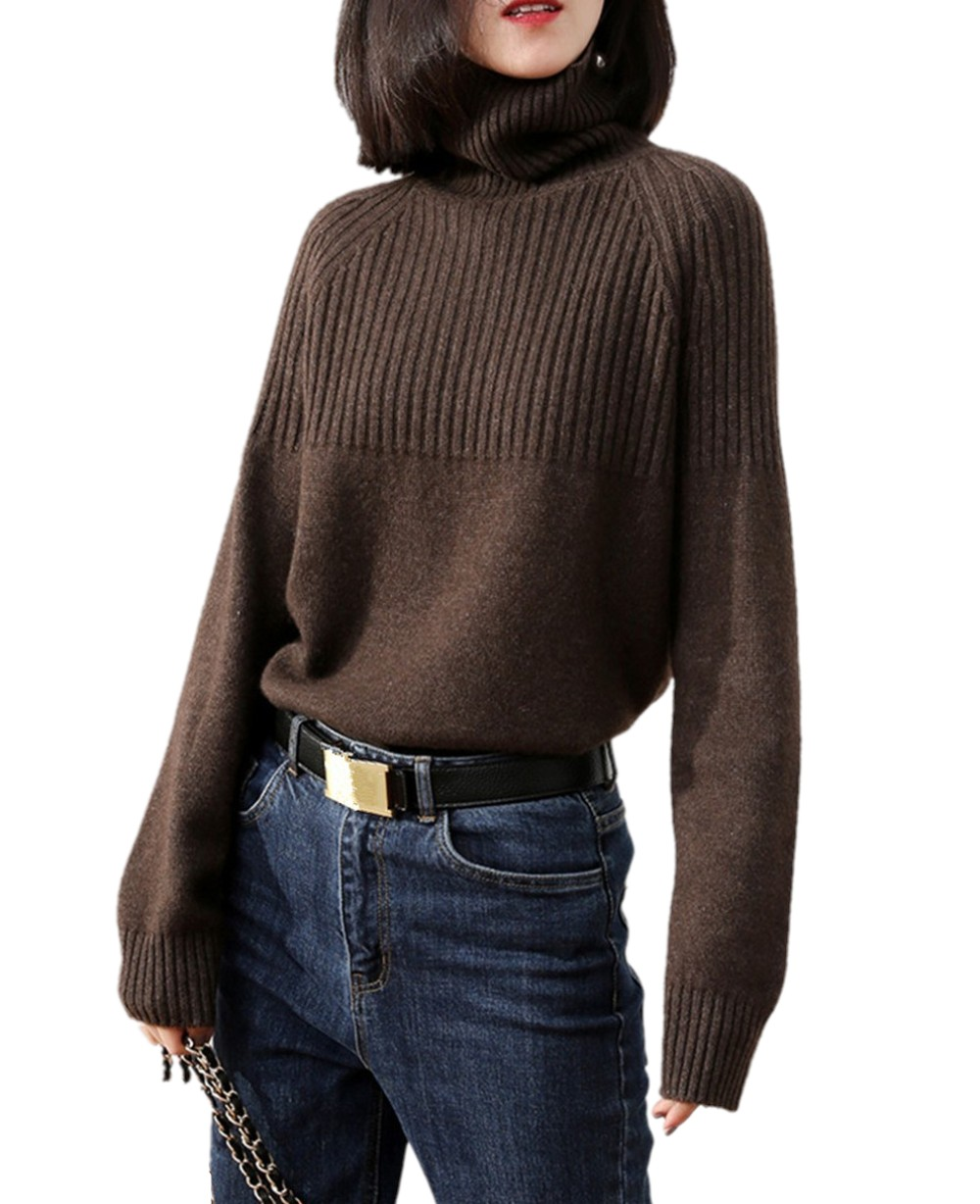 Tailor Sheep Cashmere Sweater Women Long-sleeved Thickening Pullover Loose Oversize Turtleneck Sweater Female Warm Wool Tops