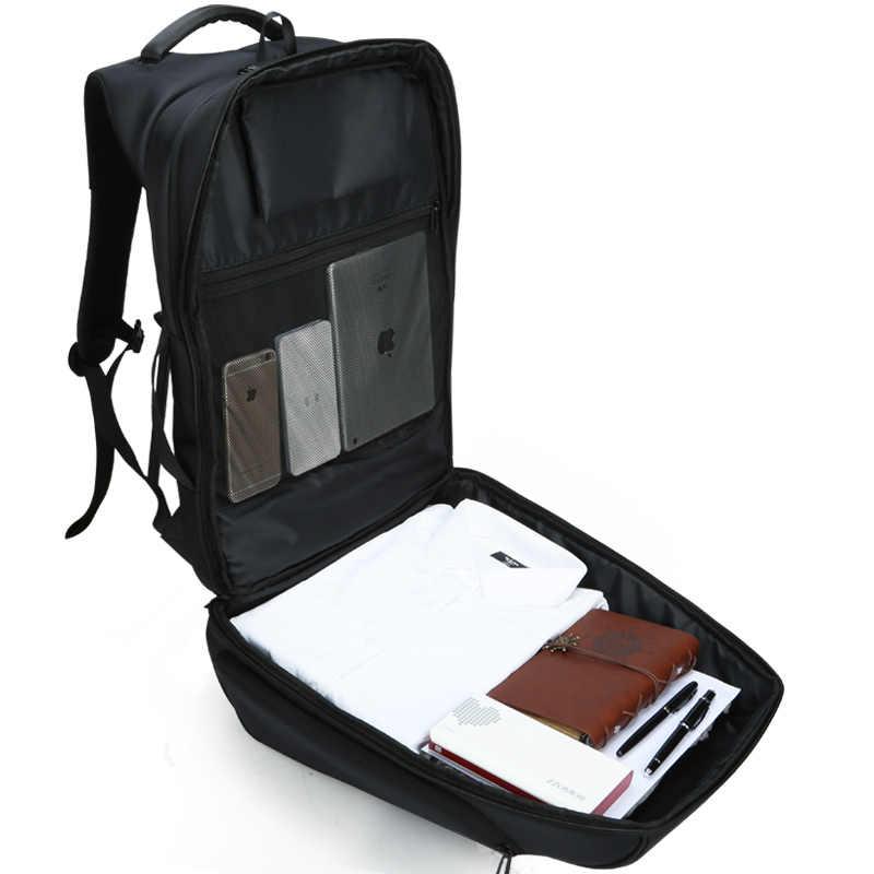 Kingsons adam sırt çantası Fit 15 17 inç dizüstü bilgisayar USB şarj çok katmanlı uzay seyahat erkek çantası anti-hırsızlık mochila