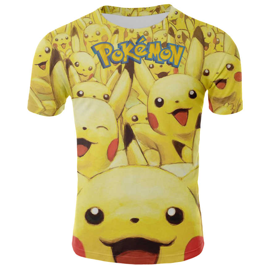 Camiseta de manga corta de Anime de Verano de 2020 con estampado 3D de Pikachu