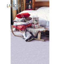 Laeacco Photo Backgrounds Christmas Bedroom Sledge Gift Pillow Baby Interior Photocall Backdrops For Studio