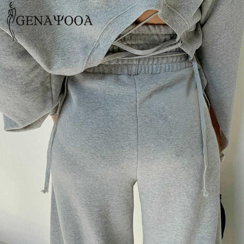 Genayooa Pakaian Latihan Yg Hangat Wanita Kasual Musim Semi 2 Piece Suit Wanita Gaya Korea Dua Sepotong Set Top dan Celana Off Bahu Tops setelan 2020