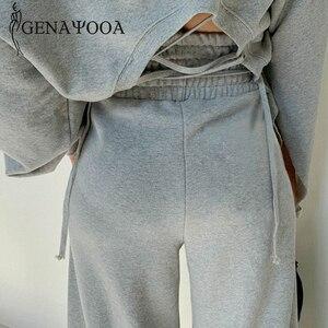 Image 5 - Женский спортивный костюм genayoa, повседневный Весенний костюм из 2 предметов, комплект из двух предметов в Корейском стиле, топ и штаны, топы с открытыми плечами, костюмы 2020