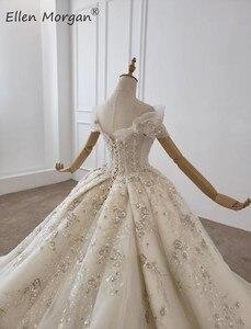 Image 5 - יוקרה גבישי תחרה כדור שמלות חתונה שמלות לנשים הסעודית נסיכה אלגנטית כבוי כתף שמלות כלה 2020